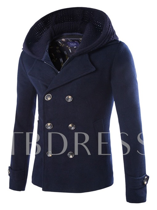 Wool Blends Double Breasted with Zip Bib Coat