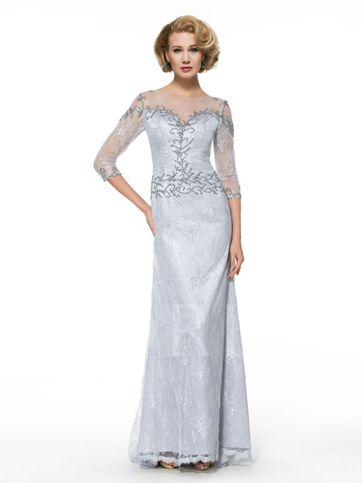 Beading Lace See-Through 3/4 Length Sleeve Trumpet Mother of the Bride Dress