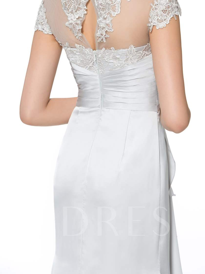 Appliques Cap Sleeves Column Mother of the Bride Dress