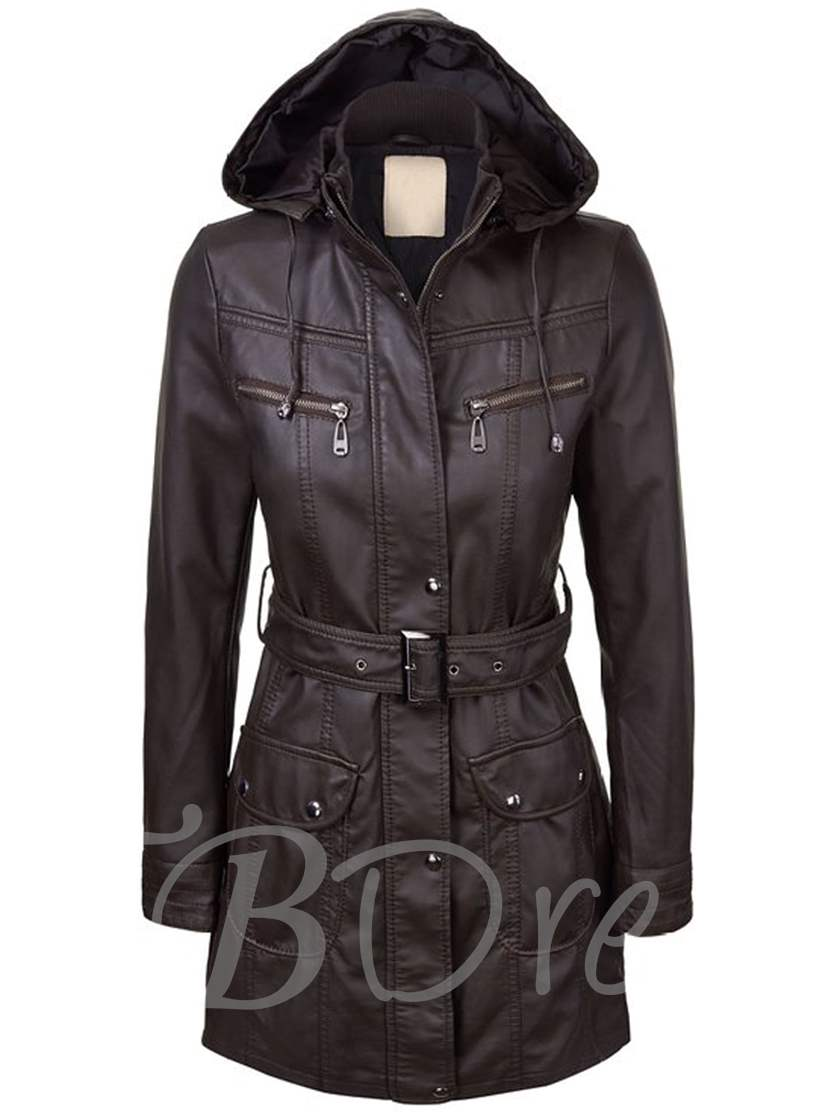 Zipper Lace-Up Long Sleeve Slim Women's Trench Coat
