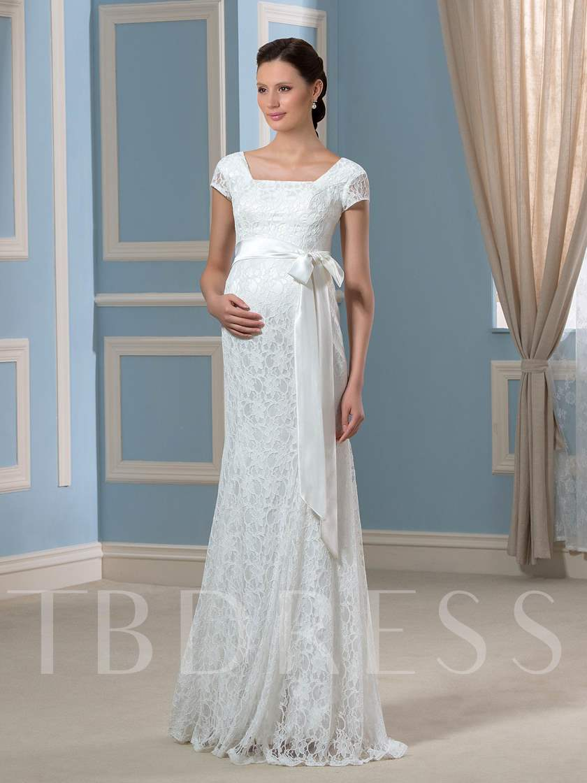 Cap Sleeves Sashes Lace Pregnant Wedding Dress