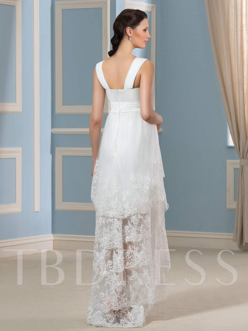 Appliques Asymmetry Beach Maternity Wedding Dress - Tbdress.com