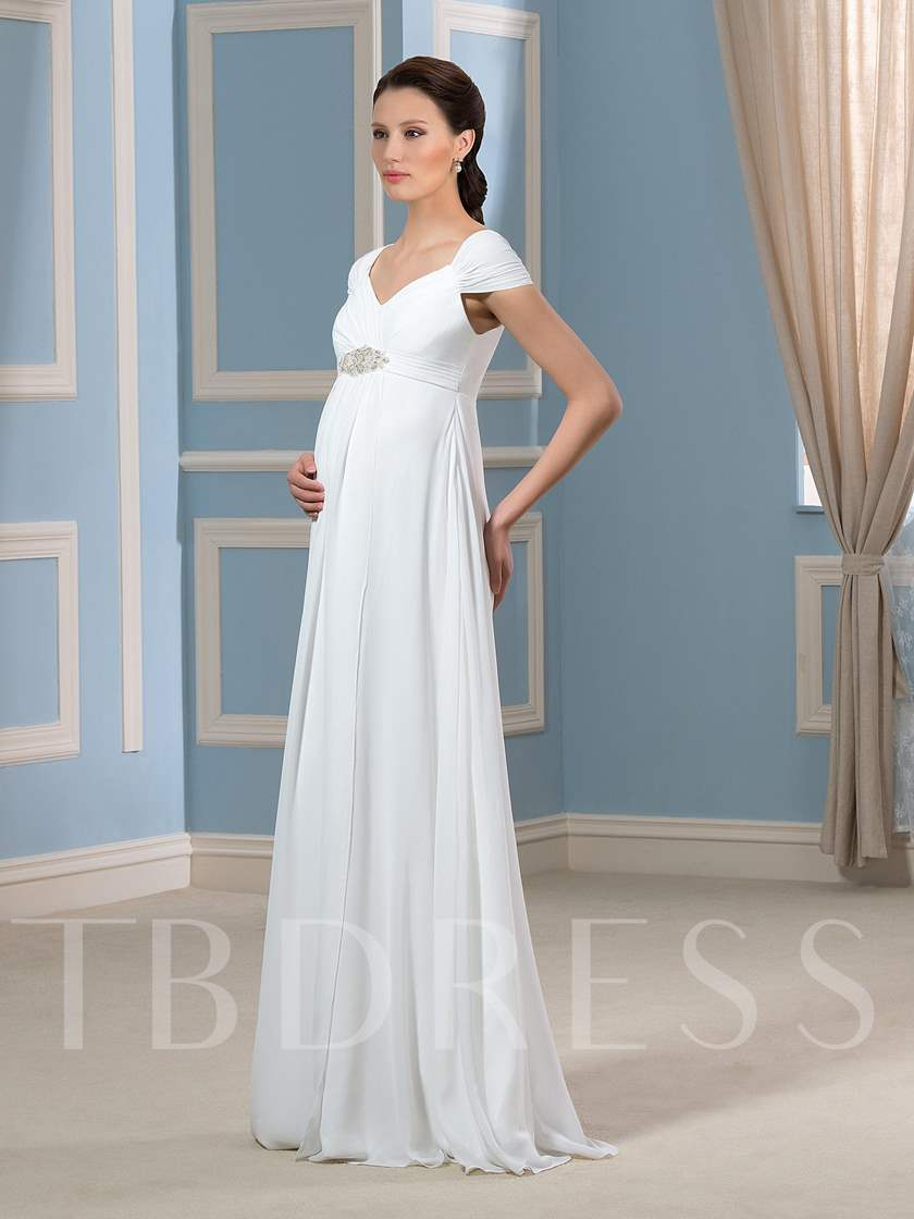 Empire Waist Pearls Maternity Wedding Dress