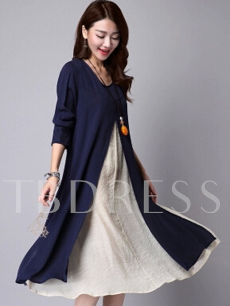 Round Neck Patchwork Loose Women's Long Sleeve Dress