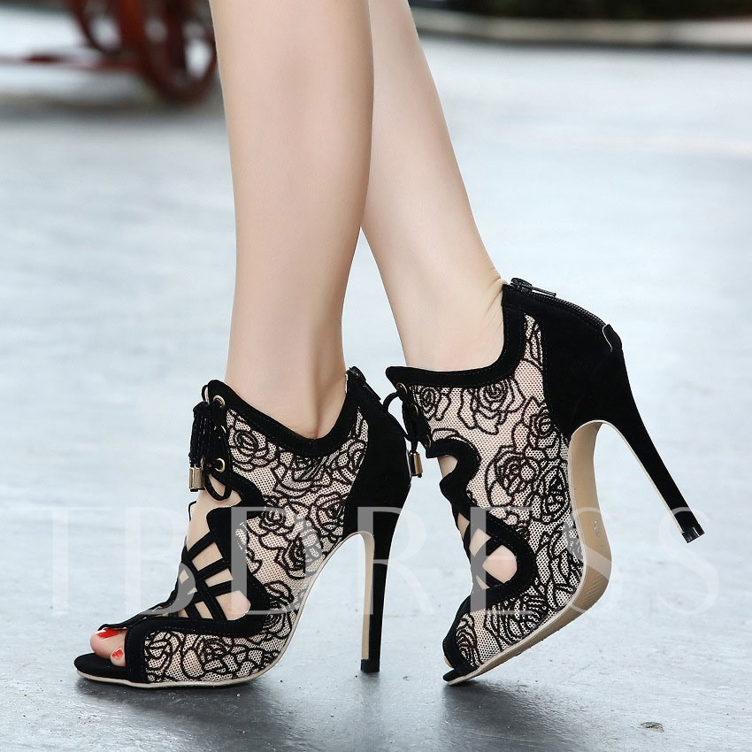 Lace-Up Front Peep Toe Stiletto Heel Women's Ankle Boots