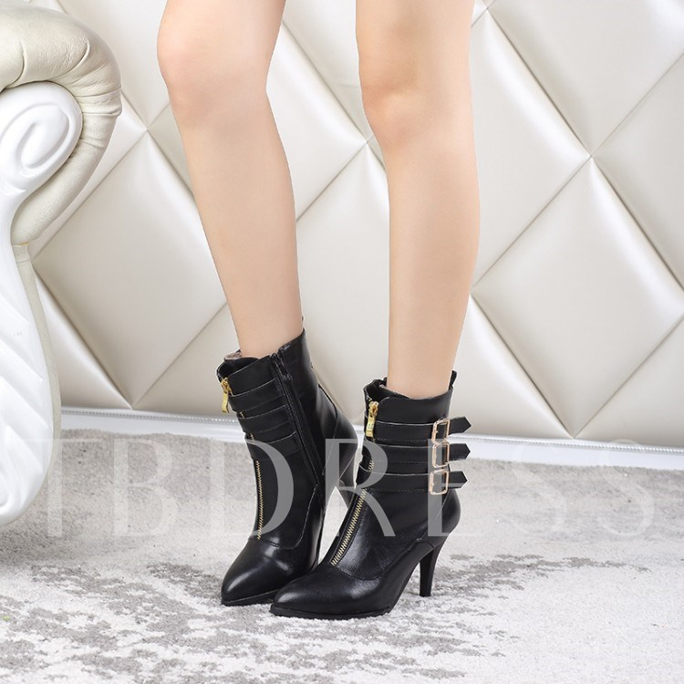 Pointed Toe Stiletto Heel Buckle Side Zipper Women's Ankle Boots