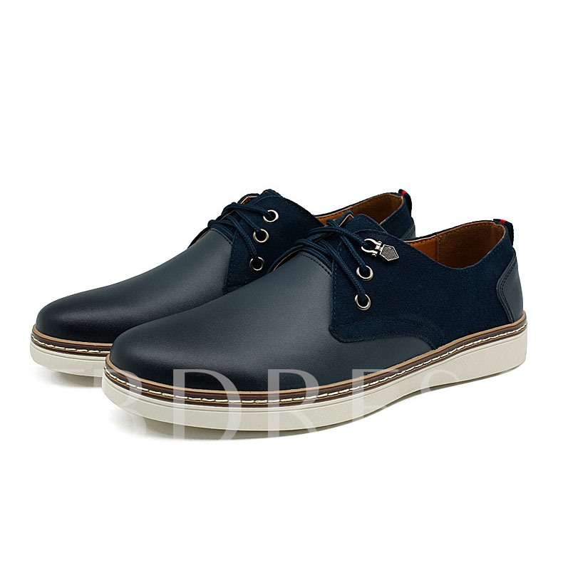 Round Toe Patchwork Lace-Up Front Flat Heel Men's Oxfords