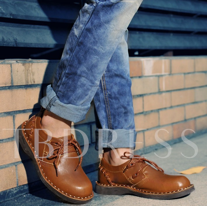Round Toe Lace-Up Front Men's Boots