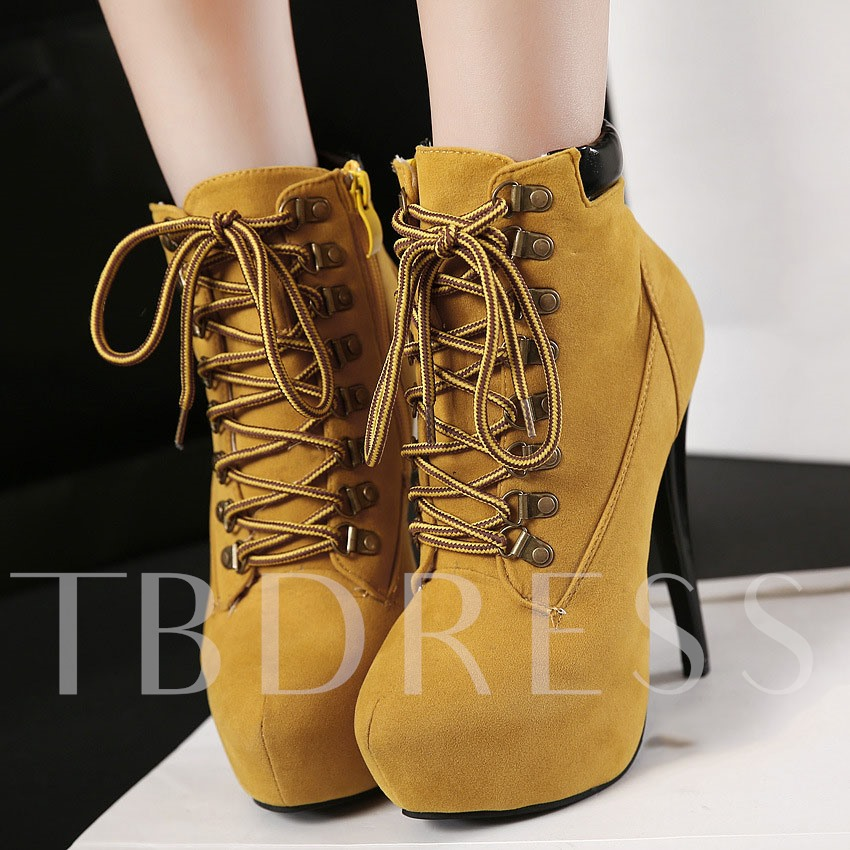 Stiletto Heel Lace-Up Front Round Toe Short Floss Ankle Women's Boots