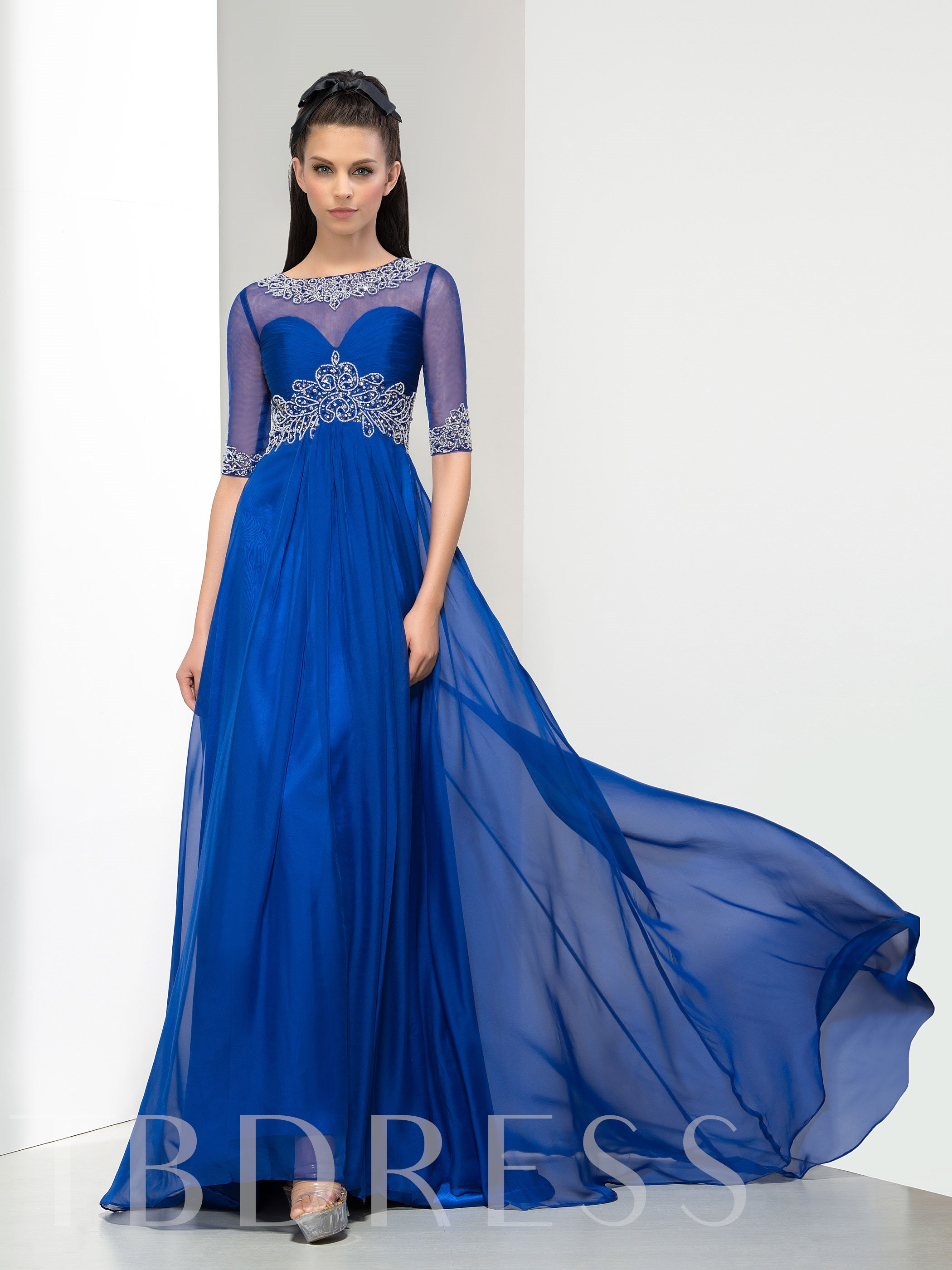 Image of A-Line Half Sleeve Beaded Ruches Long Evening Dress