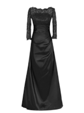 Bateau Neckline Lace Mother Dress with Long Sleeve