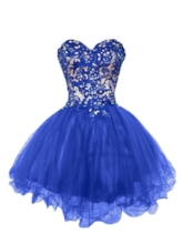 Sweetheart Lace Beaded Royal Blue Cocktail Dress