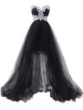 Sweetheart Appliques Lace-Up High Low Evening Dress