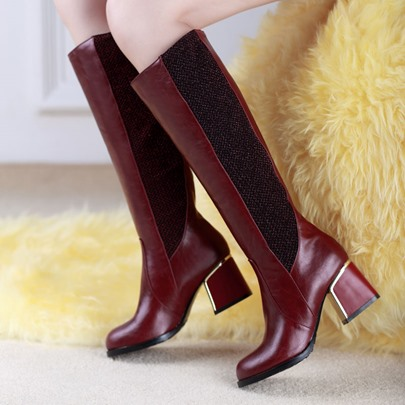 Square Heel Round Toe Slip-On Mid-Calf Women's Boots