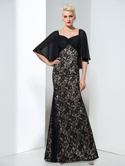 Bat-wing Sleeve Lace Long Sheath Evening Dress