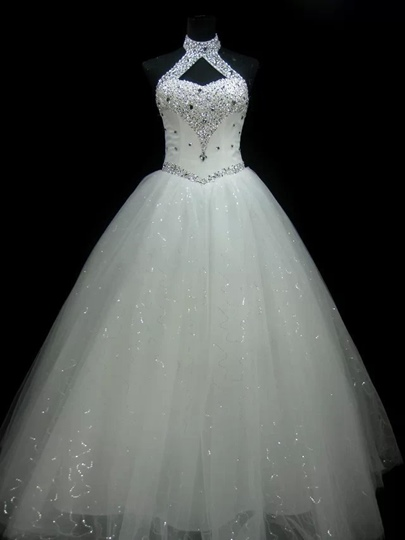 Halter Beading Ball Gown Lace-Up Wedding Dress