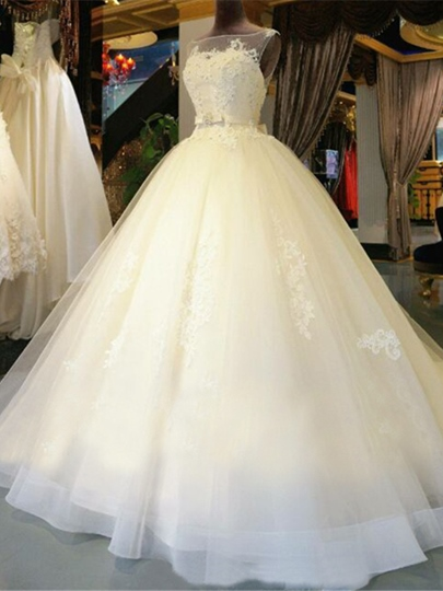Keyhole Back Lace Beaded Ball Gown Chapel Wedding Dress