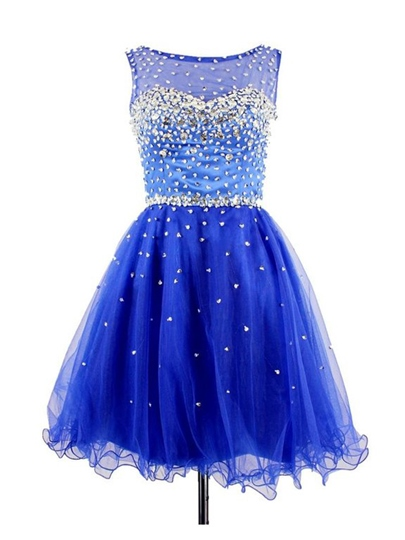 Jewel Neck Beaded Short Homecoming Dress