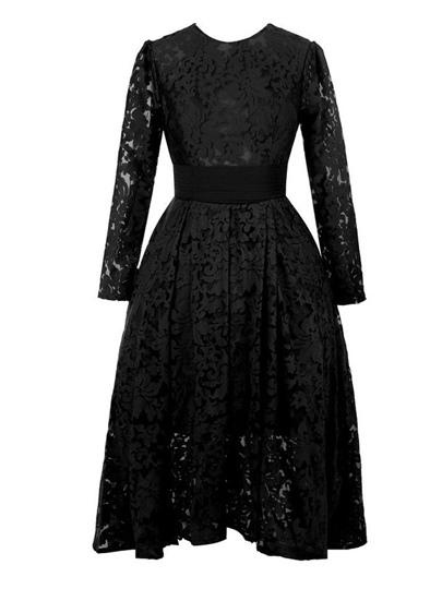 Jewel Neckline Long Sleeve Lace Hi-Lo Mother of the Bride Dress