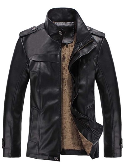 Stand Collar Slim Fit Shearling Classic Men's Parka