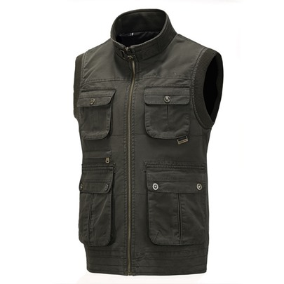 Men's Casual Washed Cotton Stand-up Collar Vest