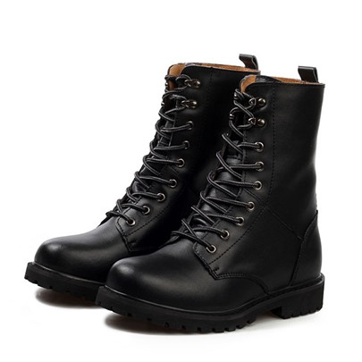 Round Toe Square Heel Lace-Up Front Ankle Men's Boots
