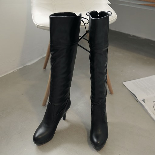 Lace-Up Front Stiletto Heel Round Toe Knee-High Women's Boots