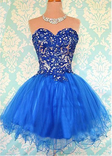Sweetheart A-Line Lace Mini Homecoming Dress