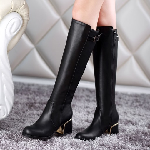 Short Floss Round Toe Back Zipper Knee-High Women's Boots
