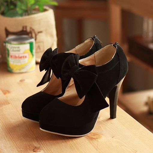 Round Toe Back Zipper Bowtie Hollow Stiletto Heel Women's Boots