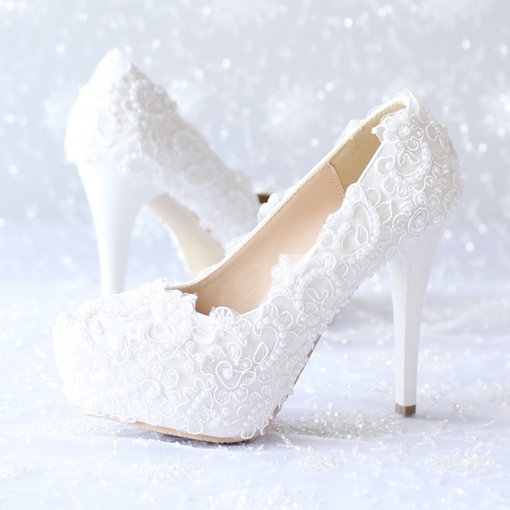 Platform Lace Stiletto Heel Slip-On Round Toe Women's Wedding Shoes
