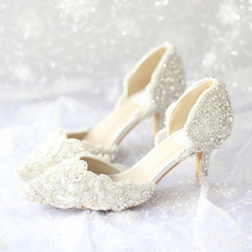 Pointed Toe Stiletto Heel Lace Slip-On Women's Wedding Shoes
