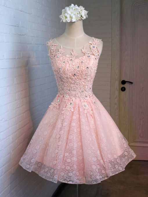 Round Neck Beaded Lace Homecoming Dress