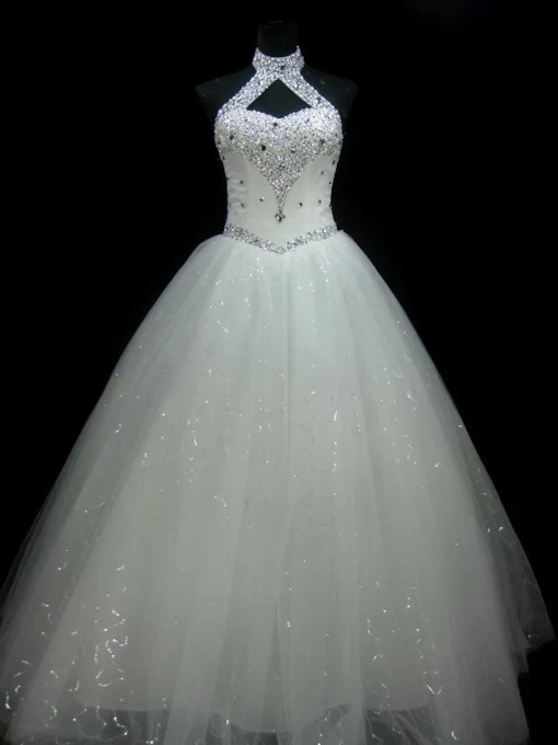 Halter Beading Lace-Up Ball Gown Wedding Dress