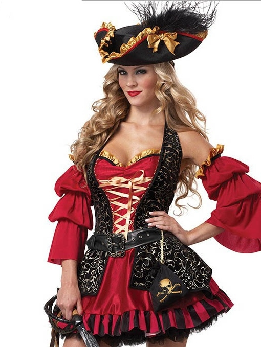 Western Patchwork Nine Points Sleeve Color Block Classic Halloween Women's Costumes