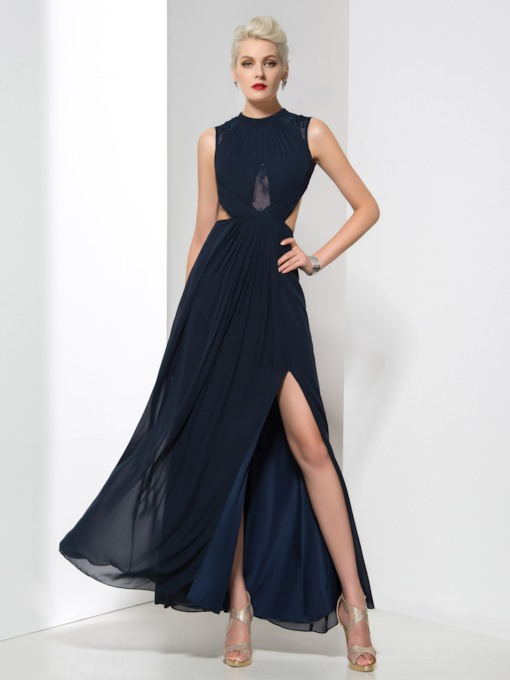 A-Line Cowl Neck Appliques Open Back Side-Split Evening Dress