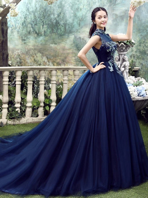 High Neck Floor-Length Appliques Ball Gown Evening Dress 2019