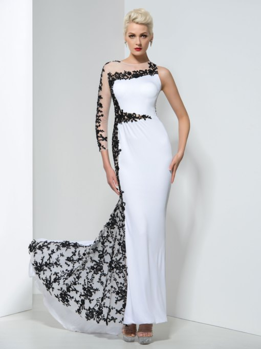 One-Shoulder Sheath Sequins Appliques Evening Dress