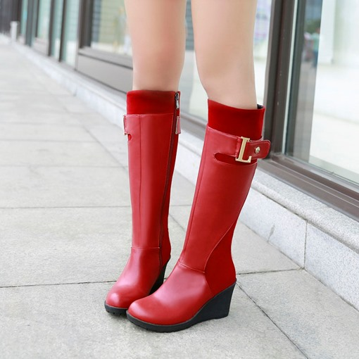 Wedge High Heel Round Toe Side Zipper Knee-High Women's Boots