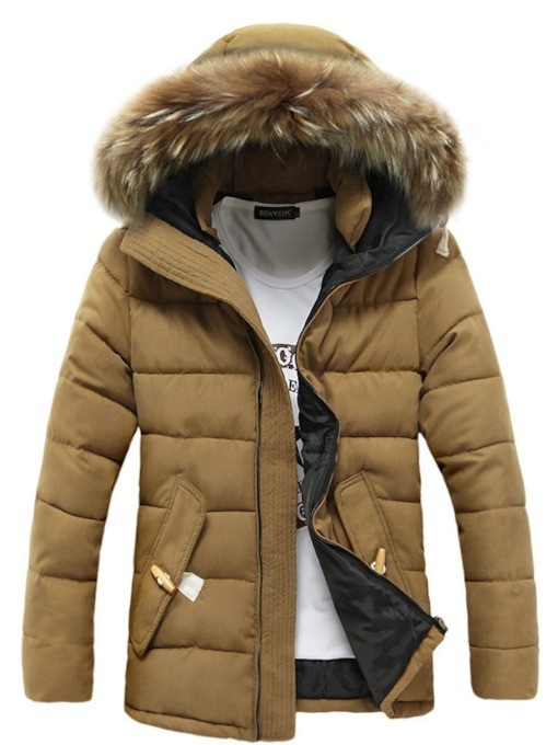 Zip-Up Cotton Quilted Men's Coat with Hat