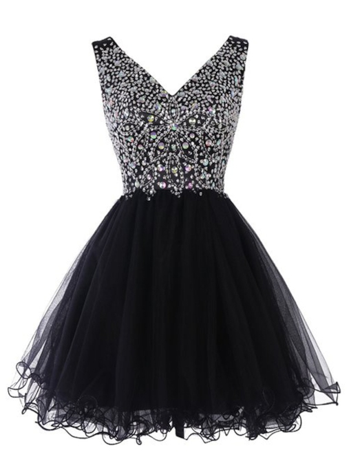 A-Line V-Neck Beaded Short Homecoming Dress