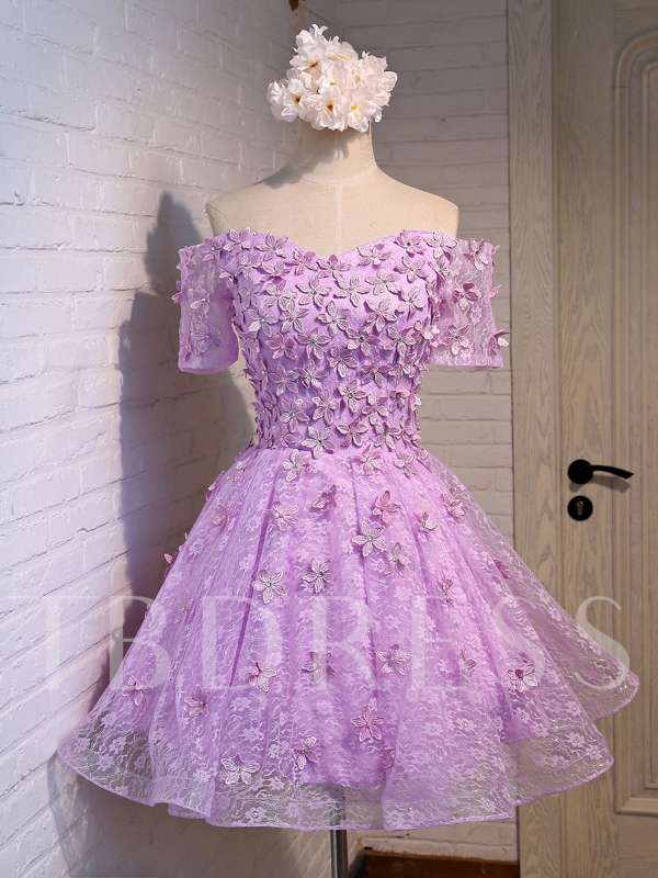 Image of A-Line Appliques Off-The-Shoulder Homecoming Dress