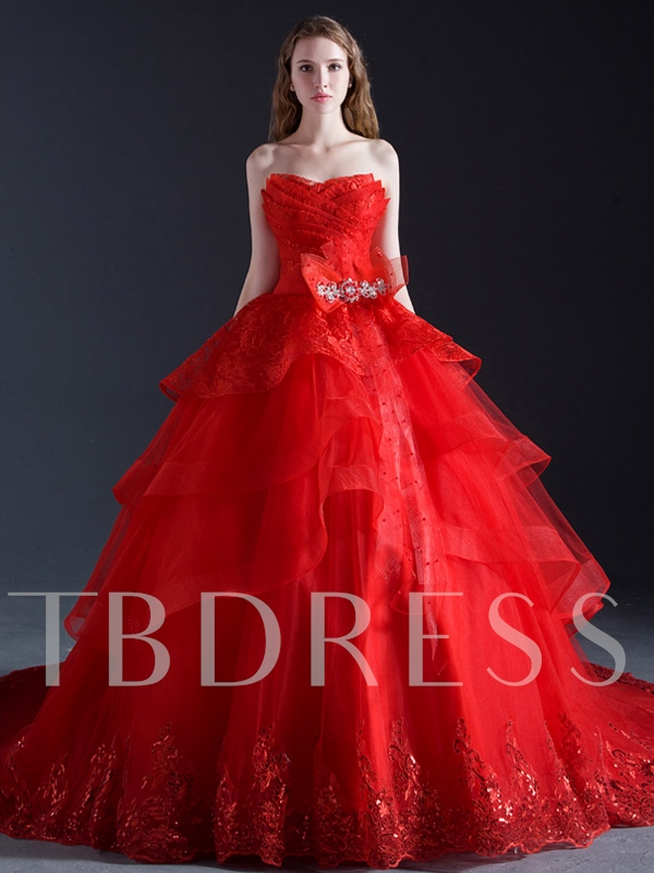 Image of Red Tiered Appliques Ball Gown Wedding Dress