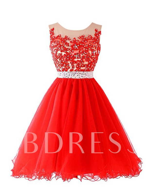 Image of A-Line Appliques Beaded Homecoming Dress