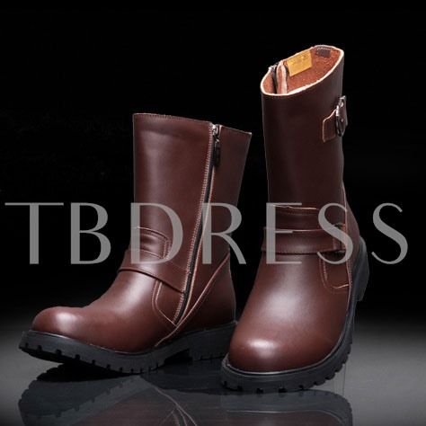 Buckle Side Zipper Round Toe Ankle Men's Boots