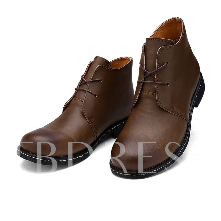 Lace-Up Front Round Toe Square Low Heel Men's Ankle Boots