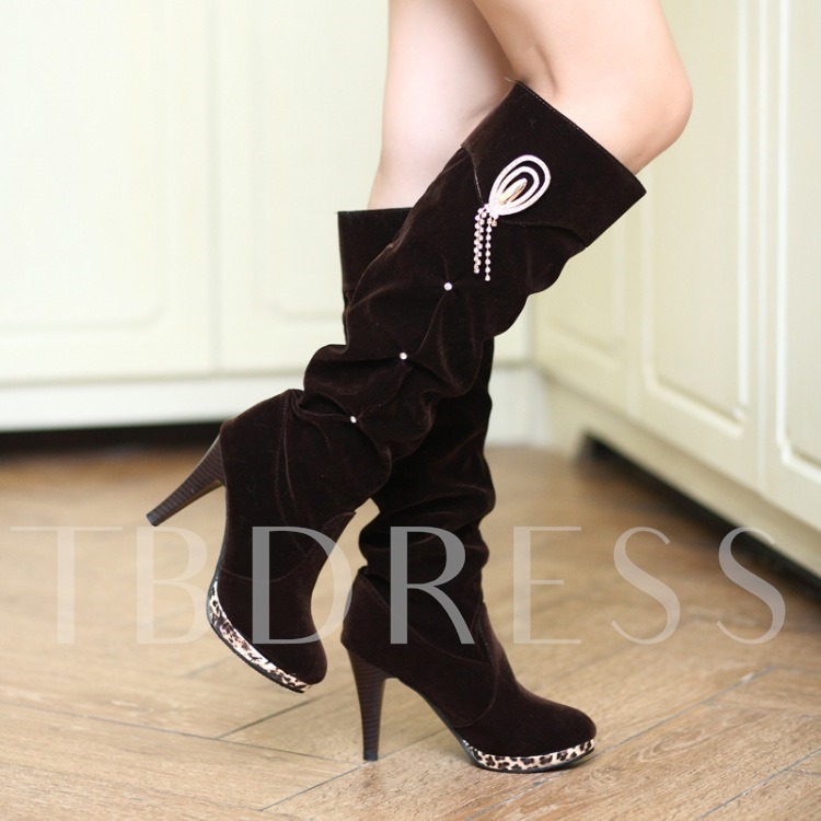 Round Toe Stiletto Heel Leopard Rhinestone Knee-High Women's Boots