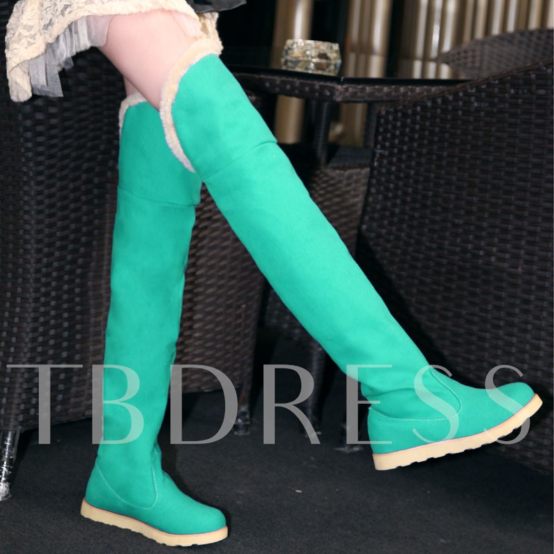 Slip-On Round Toe Short Floss Flat Low Heel Over-the-Knee Women's Boots