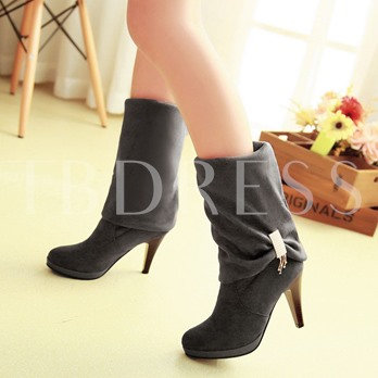 Round Toe Rhinestone Stiletto Heel Slip-On Women's Mid-Calf Boots
