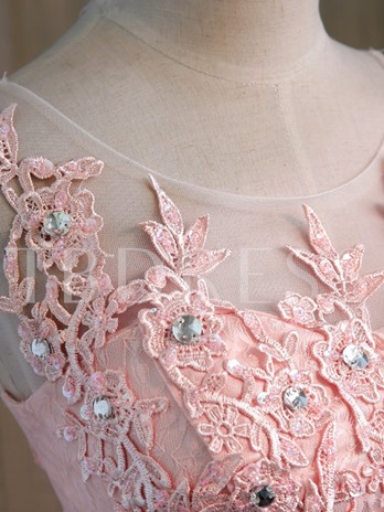 A-Line Round Neck Lace Beaded Homecoming Dress